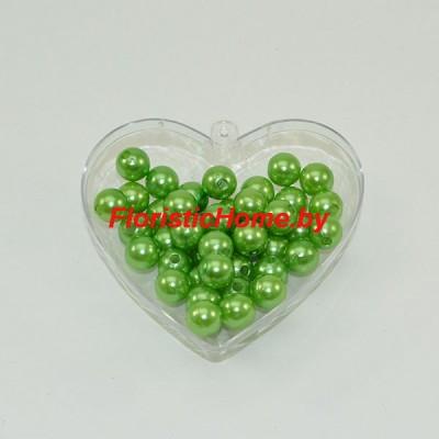 """БУСИНКА, """"под жемчуг"""" круглая, d 1 см, 20 гр., светло-зеленый"""