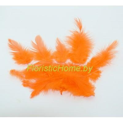 Перья пушистые в пакете 20 шт, L 3-13 см, , оранжевый