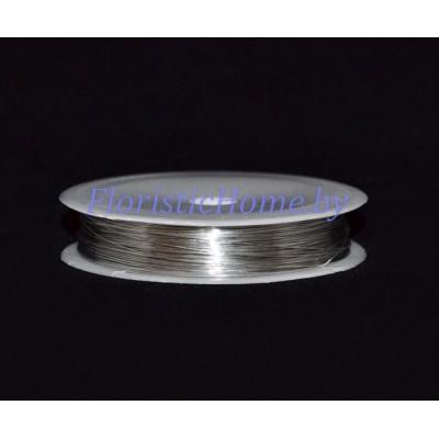 ПРОВОЛОКА , для бисера на катушке, d 0,4 мм х L 50 м, 50 гр., серебро