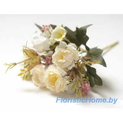 БУКЕТ ЦВЕТОВ Розы кустовой с гортензией, h 28 см, молочный