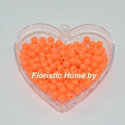 БУСИНКА, пластиковая круглая, d 0,8 см, 20 гр., ярко-оранжевый