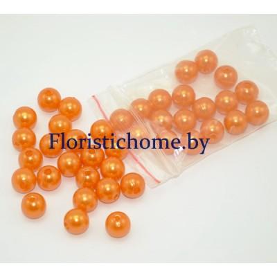 """БУСИНКА, """"под жемчуг"""" круглая, d 1 см, 20 гр., оранжевый"""