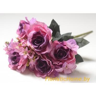 БУКЕТ ЦВЕТОВ Розы с лилией, h 48 см, лавандово-розово-фиолетовый
