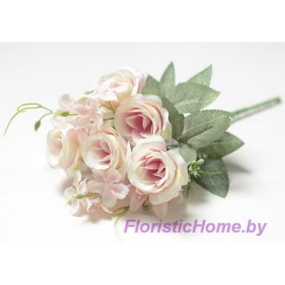 БУКЕТ ЦВЕТОВ Розы с мелкой лилией, h 29 см, розово-лавандовый-молочный