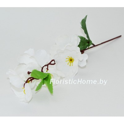 ИСКУССТВЕННЫЙ ЦВЕТОК Сакура, ткань, h 28 см, белый