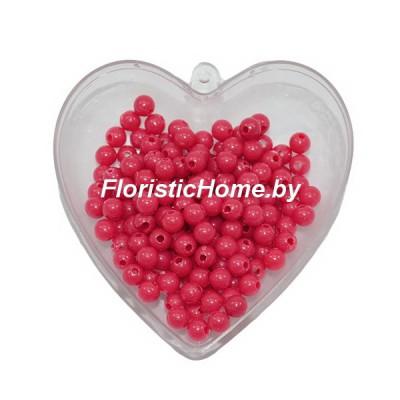 БУСИНКА, пластиковая круглая, d 0,6 см, 20 гр., красный