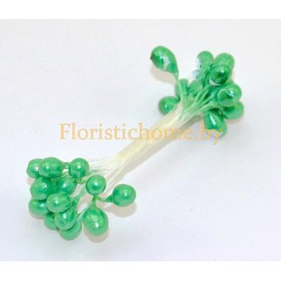 ТЫЧИНКИ Гладкие на нити  15 штук в пучке , d 0,5 см, изумрудно-зелёный,
