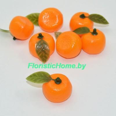 Мандарин с листочком, d 3 см, оранжевый