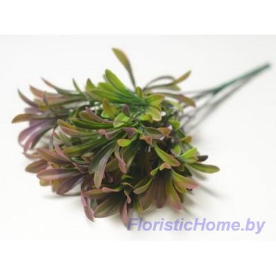 ВЕТКА Куст зелени с вытянутыми листочками, Пластик, L 31 см, фиолетовый-зеленый