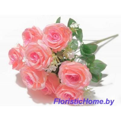 БУКЕТ ЦВЕТОВ Розы с мелкими цветами, h 43 см, розово-персиковый