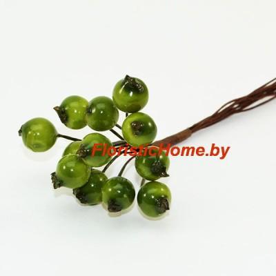 Рябина на проволоке 12 шт., d 1,1 см, зеленый