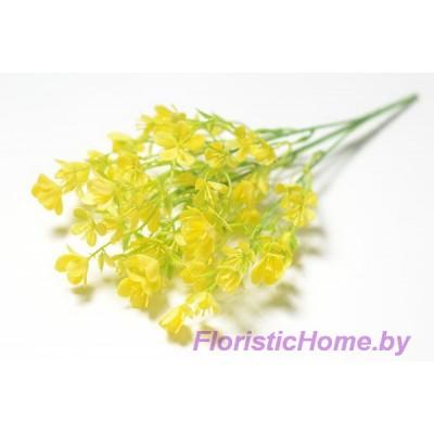 ВЕТКА Куст лютиков, Пластик с напылением, h 37 см, лимонный