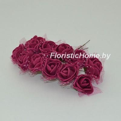 ИСКУССТВЕННЫЙ ЦВЕТОК Роза 12 шт. раскрытая с фатином, латекс, d 2,5 см, бордовый