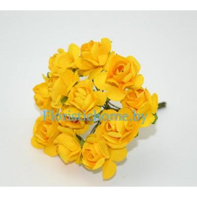 ИСКУССТВЕННЫЙ ЦВЕТОК Роза 12 шт. раскрытая, бумага, d 1,8 см, желтый