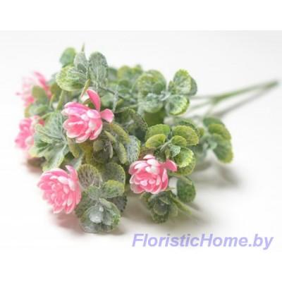 ВЕТКА Куст зелени с цветами в патине, Пластик, L 31 см, зеленый-неоновый розовый