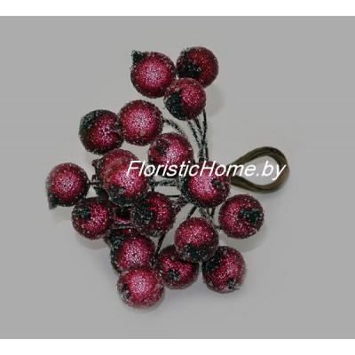 Клюква в сахаре на проволоке 20 ягод ., d 1,2 см, бордовый
