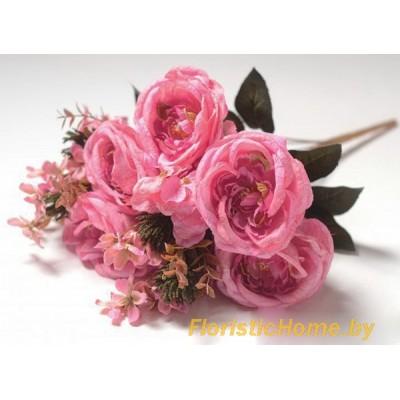 БУКЕТ ЦВЕТОВ Камелия с гортензией, h 50 см, персиково-розовый