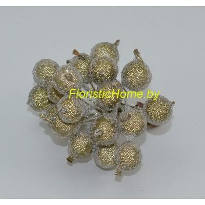 Клюква в сахаре на проволоке 20 ягод ., d 1,2 см, золотисто-песочный