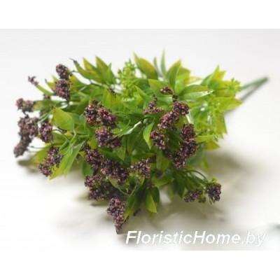 ВЕТКА Куст листвы с шишками в обсыпке, Пластик, L 37 см, зеленый-темно-вишневый