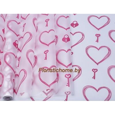 ПЛЕНКА в рулоне матовая Ключик к сердцу, h 70 см х 10 м, брусничный