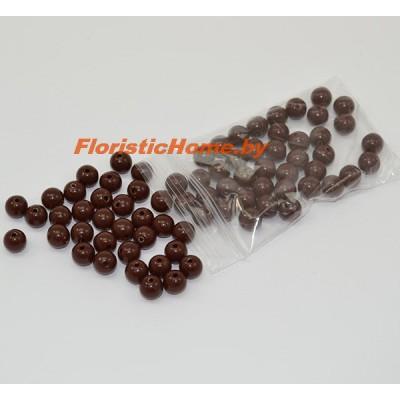 БУСИНКА, пластиковая круглая, d 0,6 см, 20 гр., коричневый