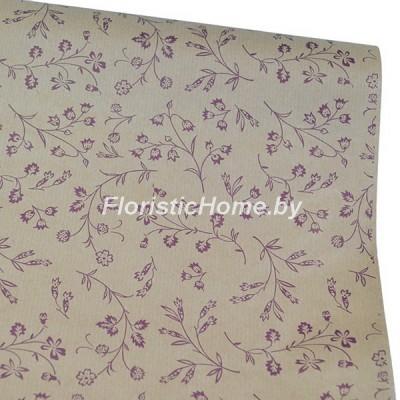 УПАКОВОЧНАЯ БУМАГА крафт 40 г/м2, Ветки, h 60 см х 10 м, натуральный-фиолетовый