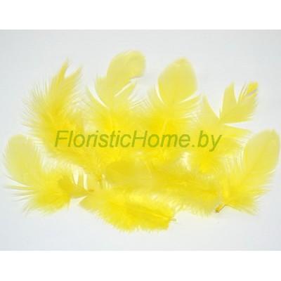 Перья пушистые в пакете 20 шт, L 3-13 см, , лимонный