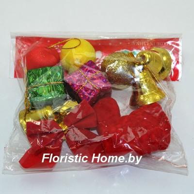 ДЕКОР  Набор новогодний 11 шт. в упак. , пластик, L 3 см -5 см, разноцветные,