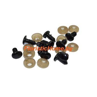 ГЛАЗКИ овальные винтовые 10 шт., d 0,9 см х 1,2 см , черный