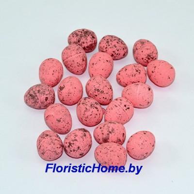 ДЕКОР  Яйцо 20 шт., пенопласт в крапинку, L 1,9 см, розово-лиловый,