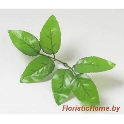 ЛИСТВА Розы - розетка, Ткань, L 13 см, теплый зеленый