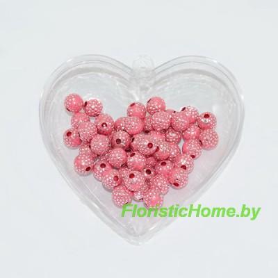 БУСИНКА,  декоративная, Дизайн №1, 50 шт., d 0,6 см, , розово-коралловый