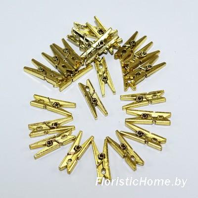 ДЕКОР  Прищепка 24 шт., пластик, h 2,5 см х d 0,4 см, золото,