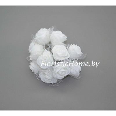 ИСКУССТВЕННЫЙ ЦВЕТОК Роза 12 шт. раскрытая с фатином, латекс, d 2,5 см, белый