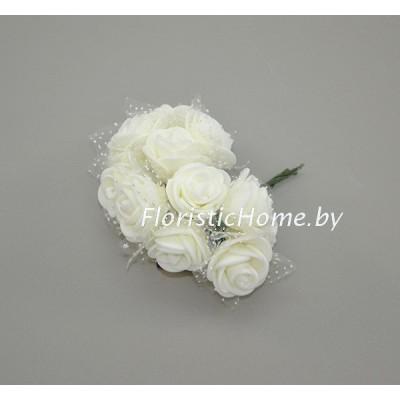 ИСКУССТВЕННЫЙ ЦВЕТОК Роза 12 шт. раскрытая с фатином, латекс, d 2,5 см, молочный