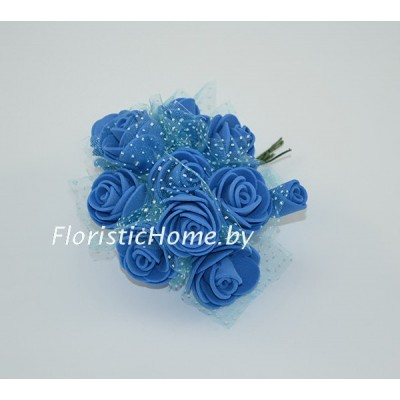 ИСКУССТВЕННЫЙ ЦВЕТОК Роза 12 шт. раскрытая с фатином, латекс, d 2,5 см, васильковый