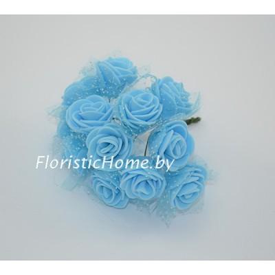 ИСКУССТВЕННЫЙ ЦВЕТОК Роза 12 шт. раскрытая с фатином, латекс, d 2,5 см, голубой