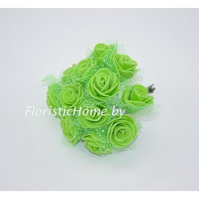 ИСКУССТВЕННЫЙ ЦВЕТОК Роза 12 шт. раскрытая с фатином, латекс, d 2,5 см, салатовый