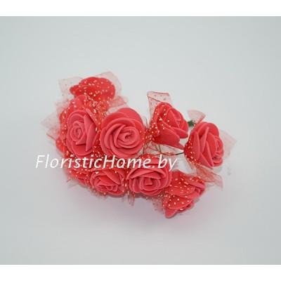 ИСКУССТВЕННЫЙ ЦВЕТОК Роза 12 шт. раскрытая с фатином, латекс, d 2,5 см, красный