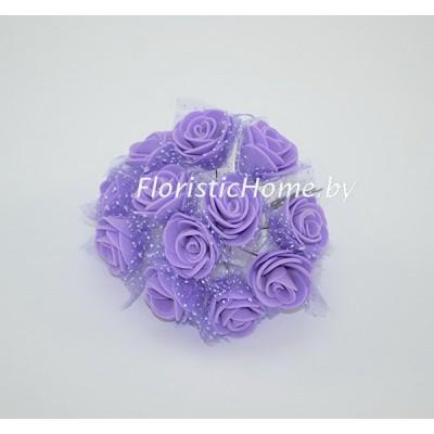 ИСКУССТВЕННЫЙ ЦВЕТОК Роза 12 шт. раскрытая с фатином, латекс, d 2,5 см, сиреневый