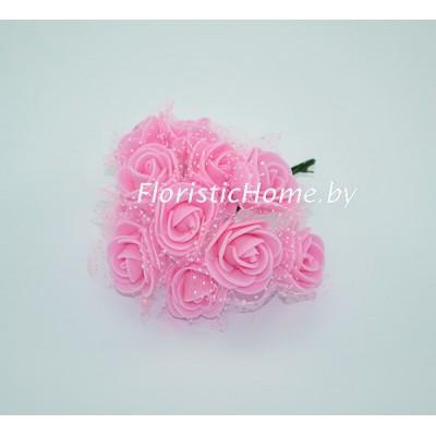 ИСКУССТВЕННЫЙ ЦВЕТОК Роза 12 шт. раскрытая с фатином, латекс, d 2,5 см, розовый