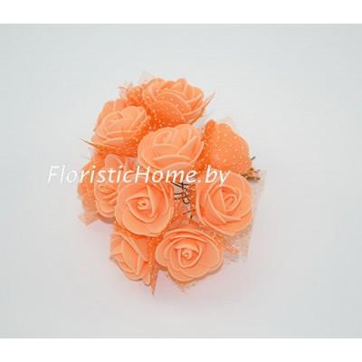 ИСКУССТВЕННЫЙ ЦВЕТОК Роза 12 шт. раскрытая с фатином, латекс, d 2,5 см, бледно-оранжевый