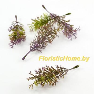 ВЕТКА Декоративная листва, Пластик, L 9 см, зеленый-фиолетовый