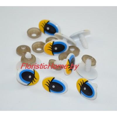 ГЛАЗКИ овальные винтовые с ресничками 10 шт., d 1,3 см х 2 см, желтый-голубой