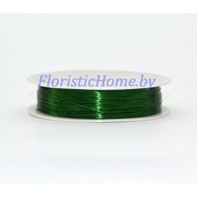 ПРОВОЛОКА , для бисера на катушке, d 0,3 мм х L 50 м, 50 гр., темно-зеленый