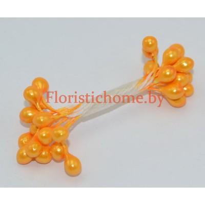ТЫЧИНКИ Гладкие на нити  15 штук в пучке , d 0,5 см, светло-оранжевый,