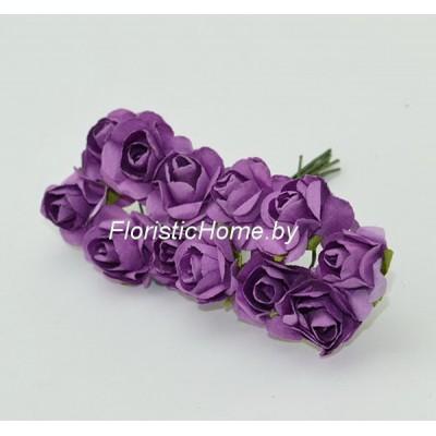 ИСКУССТВЕННЫЙ ЦВЕТОК Роза 12 шт. раскрытая, бумага, d 1,8 см, фиолетовый