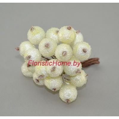 Клюква в сахаре на проволоке 20 ягод ., d 1,2 см, светло-лимонный