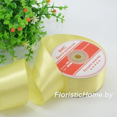 ЛЕНТА атласная, h 3,8 см х 1 м, светло-лимонный