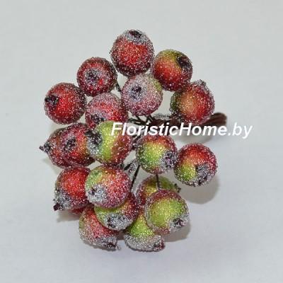 Клюква в сахаре на проволоке 20 ягод ., d 1,2 см, красный-зеленый